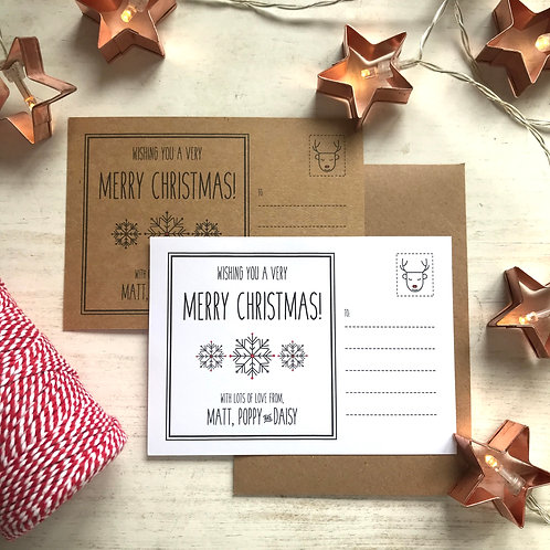 Personalised Family Christmas Postcards