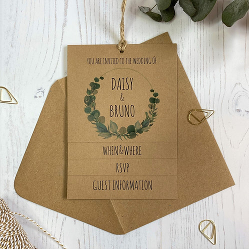 Eucalyptus Tiered Wedding Invites - Kraft