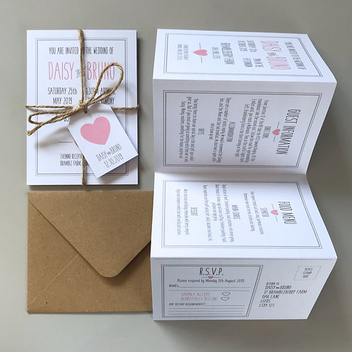 Pink and Grey Folded Wedding Invitations