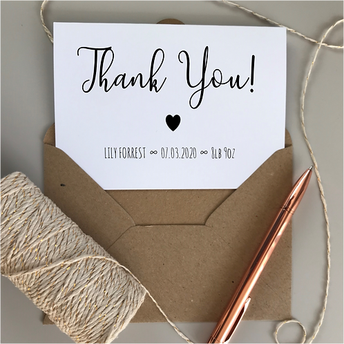 New Baby Thank You Cards - Kraft