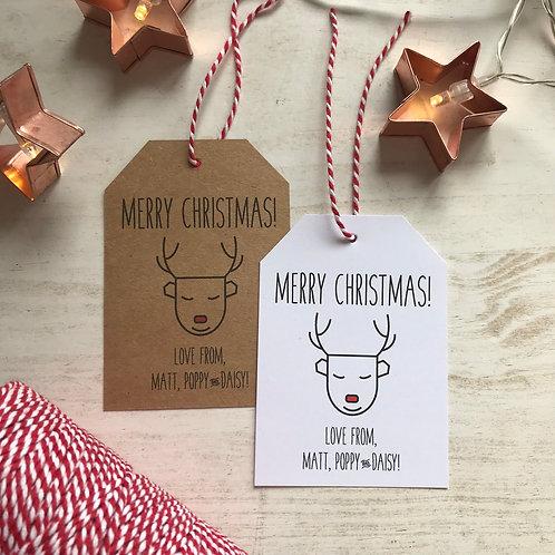 Personalised Reindeer Christmas Gift Tags (x10)