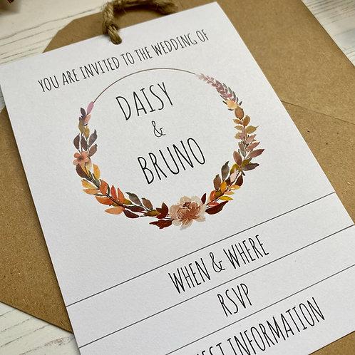 Autumn Boho Tiered Wedding Invites - White