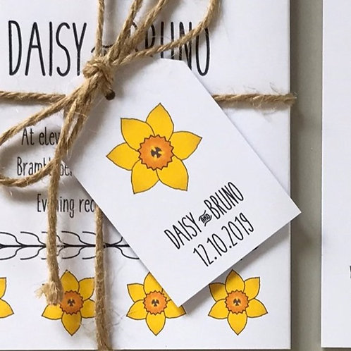 Daffodil Wedding Favour Tags - White