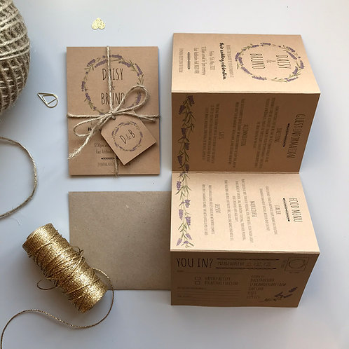 Lavender Folded Wedding Invitations - Kraft