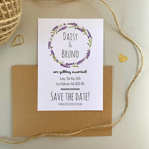 Lavender Save The Date Cards - White