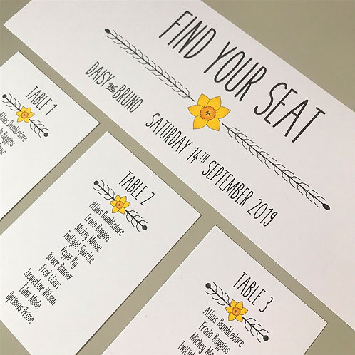 Daffodil Individual Table Plan Cards - White