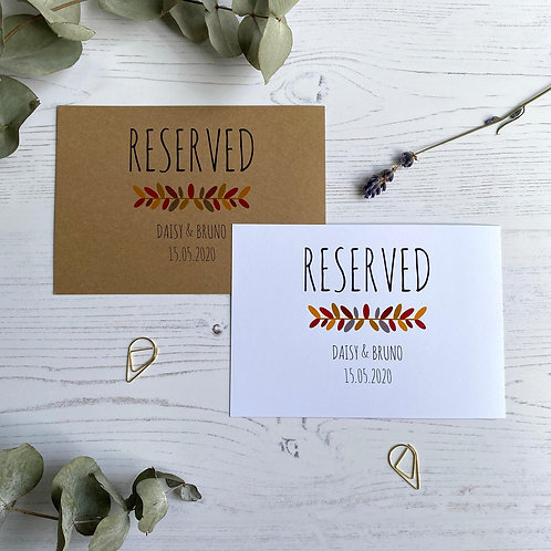 Autumn Foliage Reserved Sign