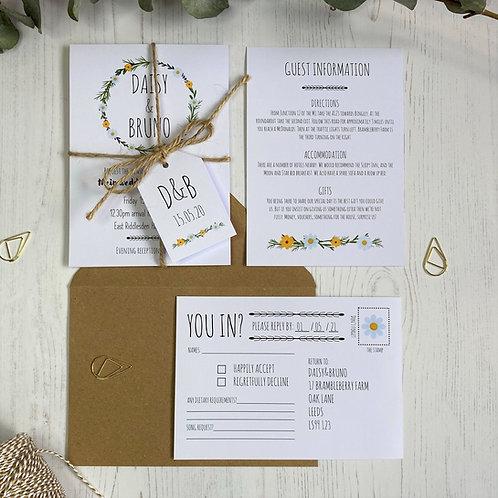 Daisy Wildflower Wedding Invitations - White