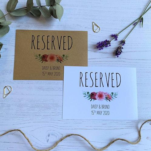 Floral Blush Reserved Sign