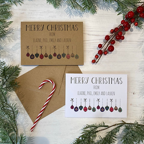Personalised Bauble Christmas Cards (X10)