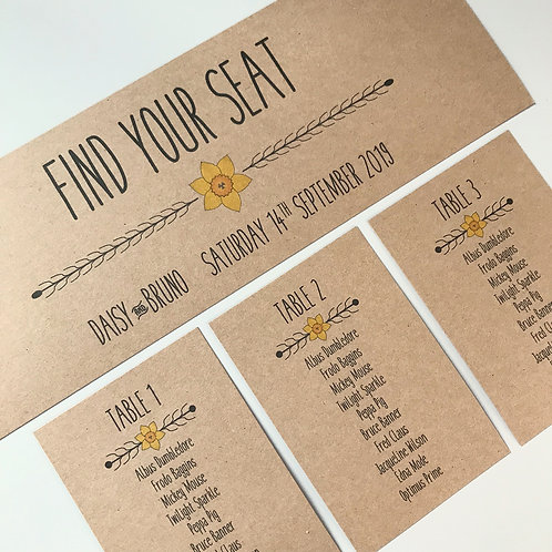 Daffodil Individual Table Plan Cards - Kraft
