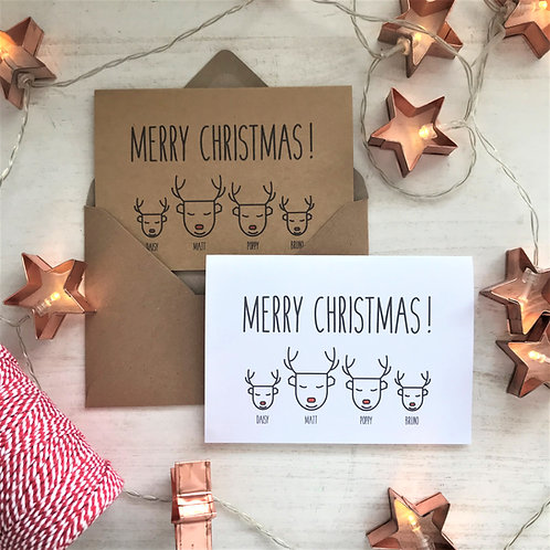 Personalised Reindeer Family Christmas Cards