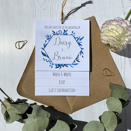 Blue Foliage Tiered Wedding Invites -White