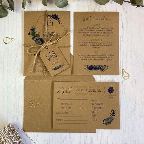 Dusty Blue Wedding Invitations - Kraft