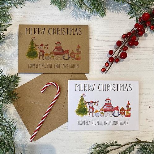 Personalised Woodland Animal Christmas Cards (X10)