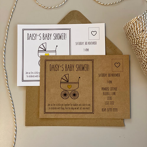 Baby Shower Invite - Pram (x10)