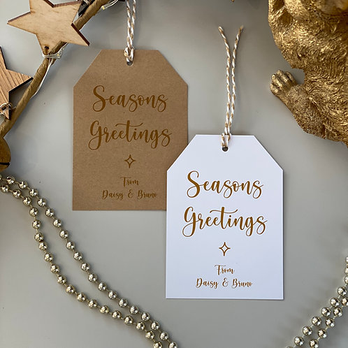 Personalised Seasons Greetings Gift Tags (x10) - Gold