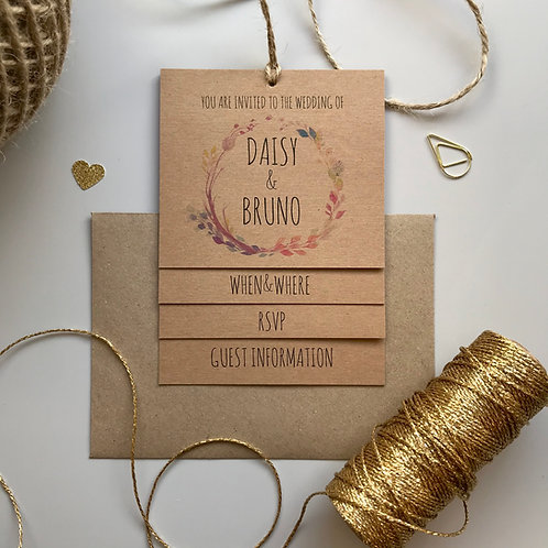 Boho Flower Tiered Wedding Invites - Kraft