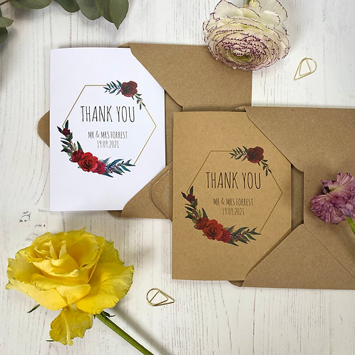 Winter Romance Personalised Wedding Thank you Cards (x10)