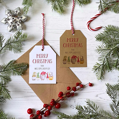 Personalised Christmas Gnome Gift Tags (X10)