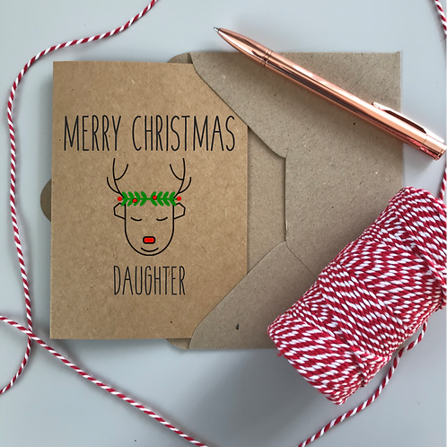 Personalised Christmas Card Reindeer - Kraft Card