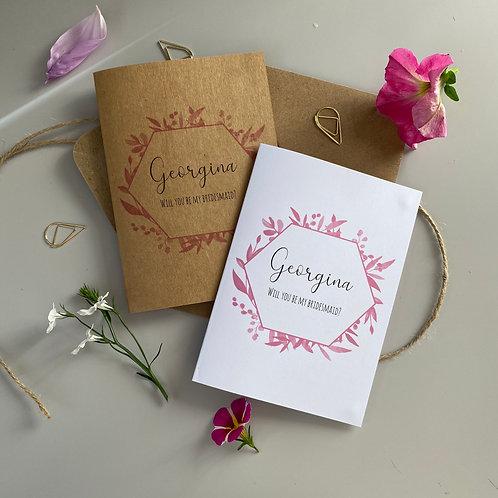 Bridesmaid Proposal Card - Pink Foliage