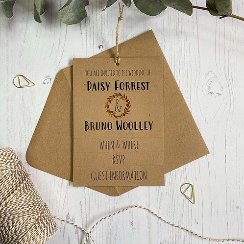 Autumn Foliage Tiered Wedding Invites - Kraft
