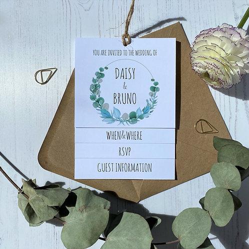Eucalyptus Tiered Wedding Invites -White