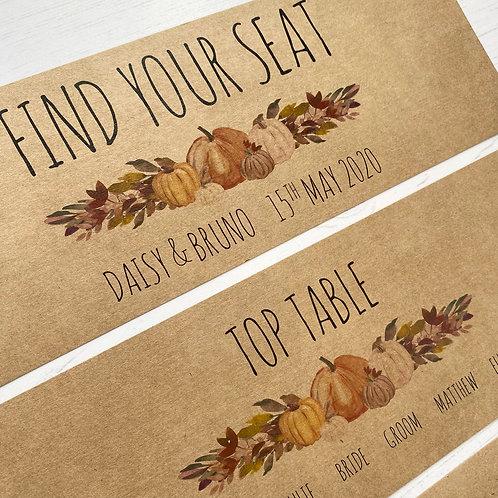 Pumpkin Individual Table Plan Cards - Kraft