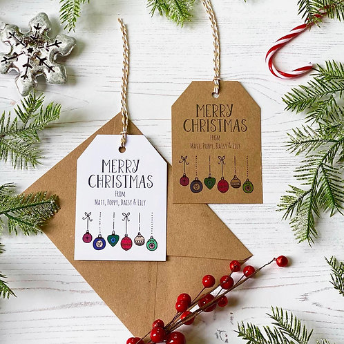 Personalised Christmas Bauble Gift Tags (X10)
