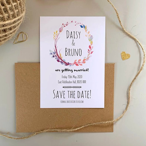 Boho Flower Save The Date Cards - White (x10)