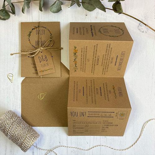 Daisy Wildflower Folded Wedding Invitations - Kraft
