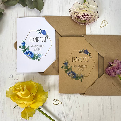 Dusty Blue Personalised Wedding Thank you Cards (x10)