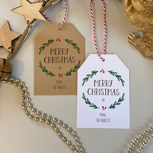 Personalised Wreath Christmas Gift Tags (x10)