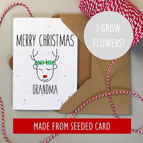 Personalised Christmas Card Reindeer - Seeded Card