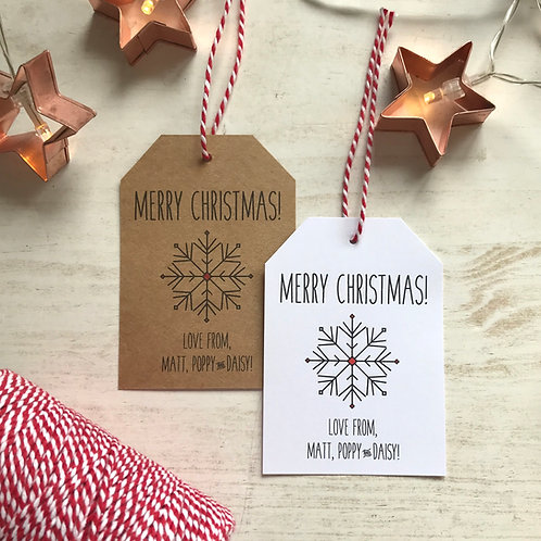 Personalised Christmas Gift Tags - Snowflake
