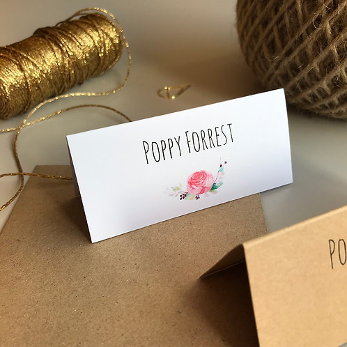 Boho Flower Place Name Cards - White