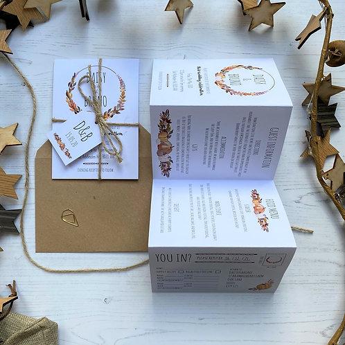 Pumpkin Folded Wedding Invitations - White