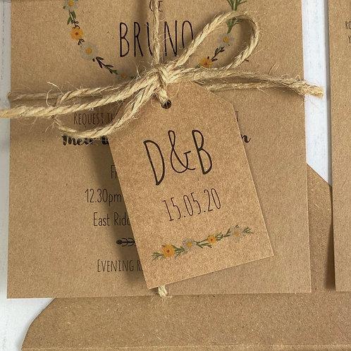 Daisy Wildflower Wedding Favour Tags - Kraft