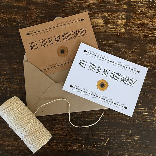 Sunflower Bridesmaid Proposal Cards