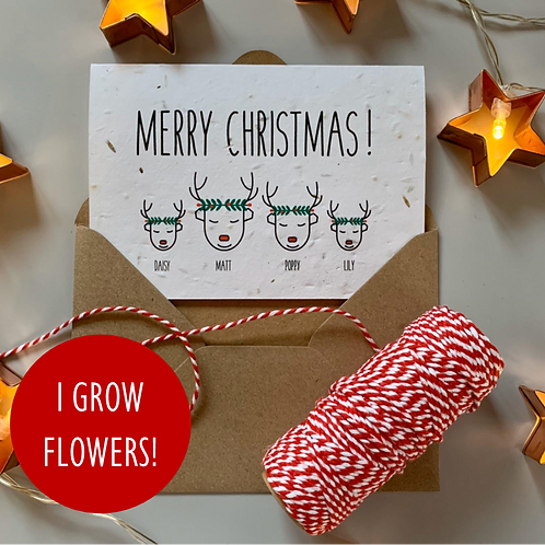 Personalised Reindeer Wreath Family Christmas Cards - Seeded
