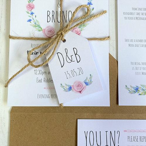 Daisy Cornflower Wedding Favour Tag