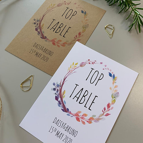 Boho Table Number Sign