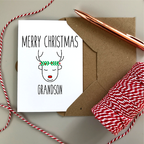 Personalised Christmas Card Reindeer - White Card