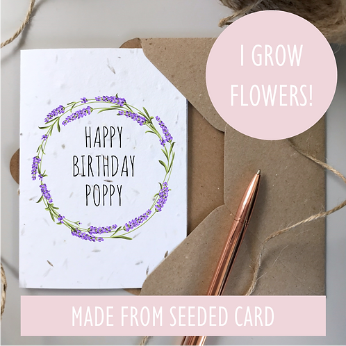Personalised Lavender Happy Birthday Card - Seeded Card
