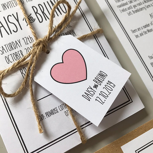 Rustic Heart Wedding Favour Tags - White