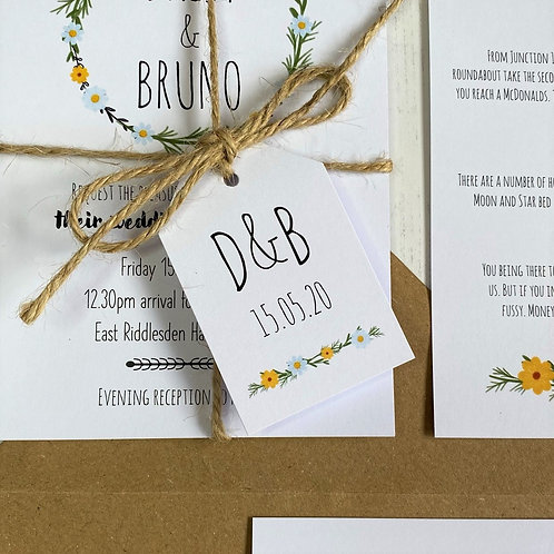 Daisy Wildflower Wedding Favour Tags - White