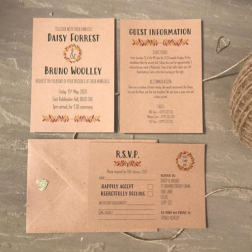 Autumn Wedding Invitations - Kraft