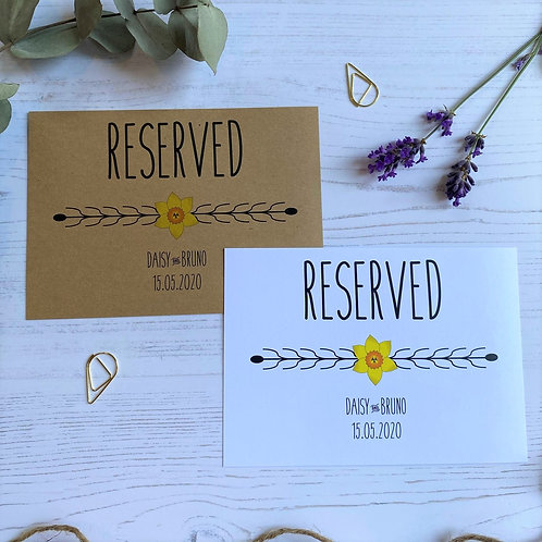 Daffodil Reserved Sign