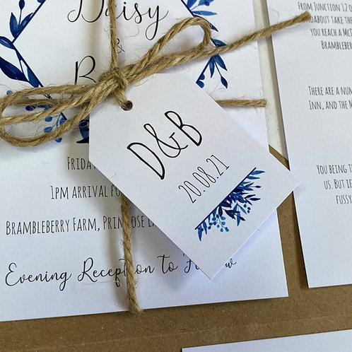 Blue Foliage Wedding Favour Tags - White